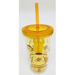 Pompompurin Plastic Cup W/Straw: