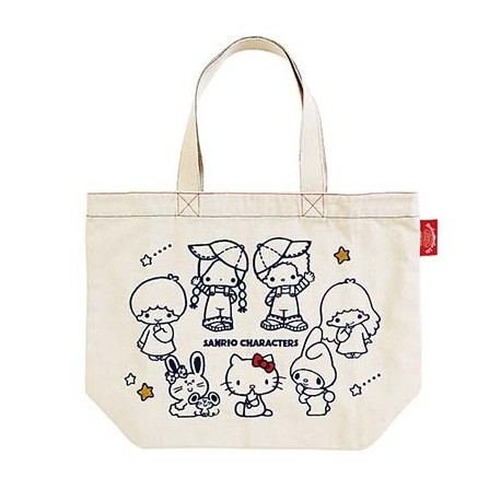 Assorted Characters Tote Bag: Bfw 70s White