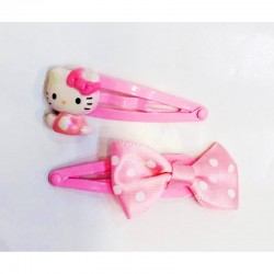 Hello Kitty Hair Clips: Pink Ribbon