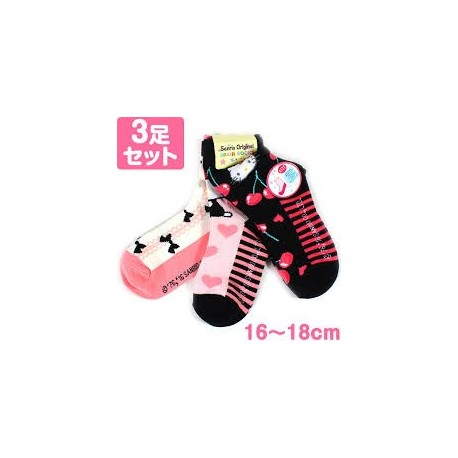 hello kitty 3pairs socks 16 18 cherry the kitty shop. Black Bedroom Furniture Sets. Home Design Ideas