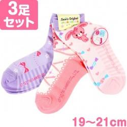 Bonbonribbon 3Pairs Socks: 19-21 Heart