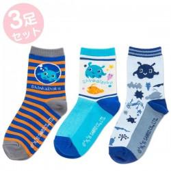 Shinkaizoku 3Pairs Socks: 13-15 Border