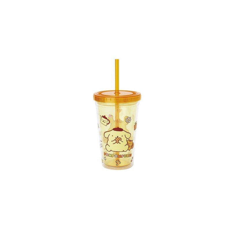 Pompompurin Plastic Cup W Straw The Kitty Shop
