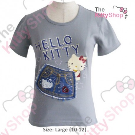 a4df8af86 Hello Kitty T-Shirt Denim Grey L - The Kitty Shop
